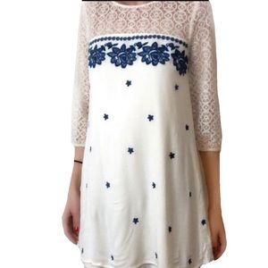 Entro Embroidered cream lace gauze dress Small(C4)